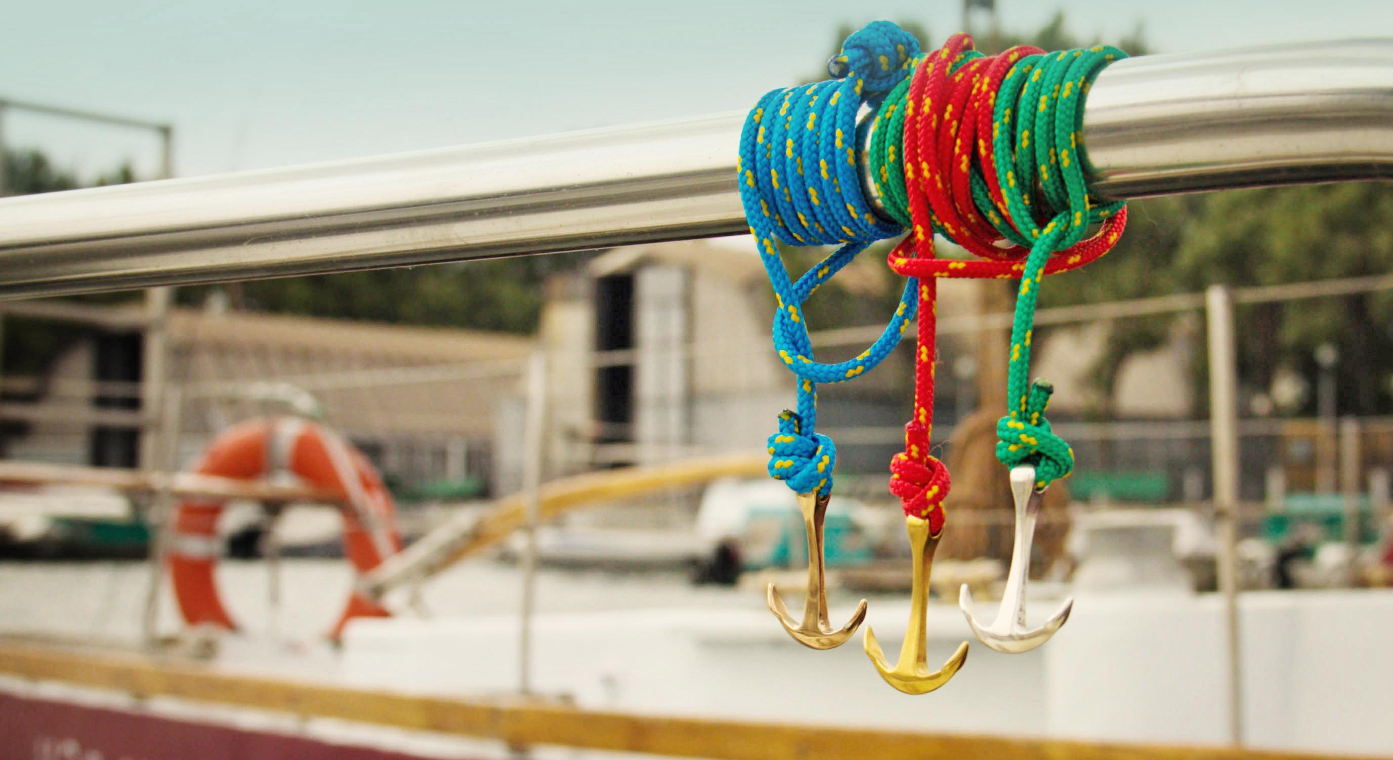 cord anchor bracelet on boat