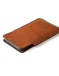 Flap iphone leather sleeve brown