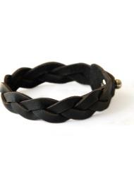 Verge leather plaited bracelet black on hand