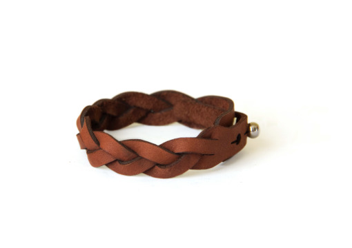 Verge leather plaited bracelet brown