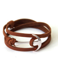 Silver anchor bracelet on brown leather