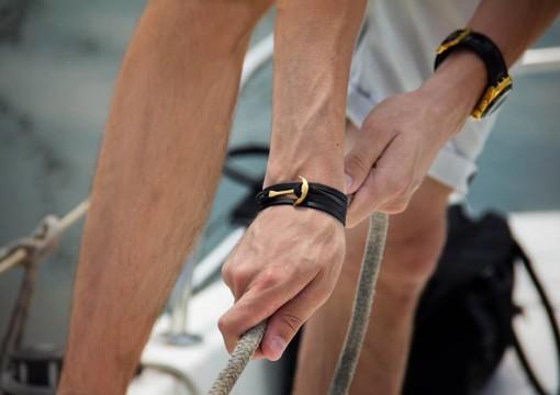 Gold Anchor Bracelet on Black Leather