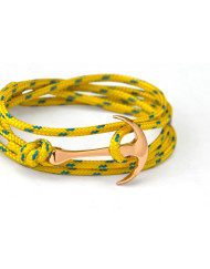 Rose gold anchor bracelet on yellow rope