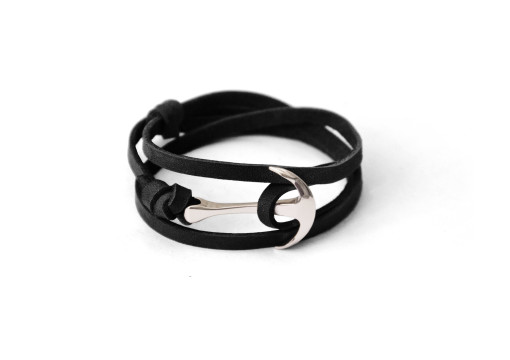 Silver anchor bracelet on black leather