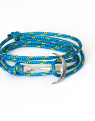 Silver anchor bracelet on blue rope