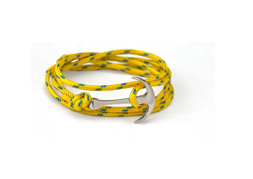 Silver anchor bracelet on yellow rope